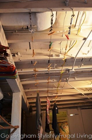 Indoor laundry lines in basement