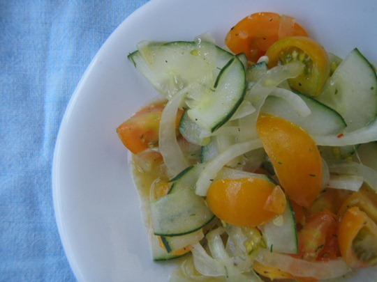 Cucumber, onion, tomato salad