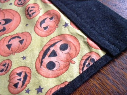 Homemade Halloween decorations tablecloth details