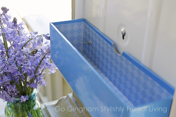 Go Gingham Repurposed paper towel holder