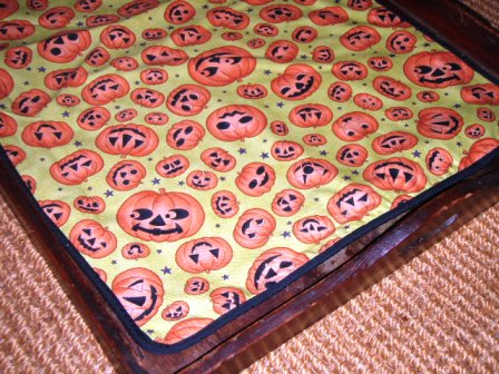 Homemade Halloween decorations tablecloth in tray