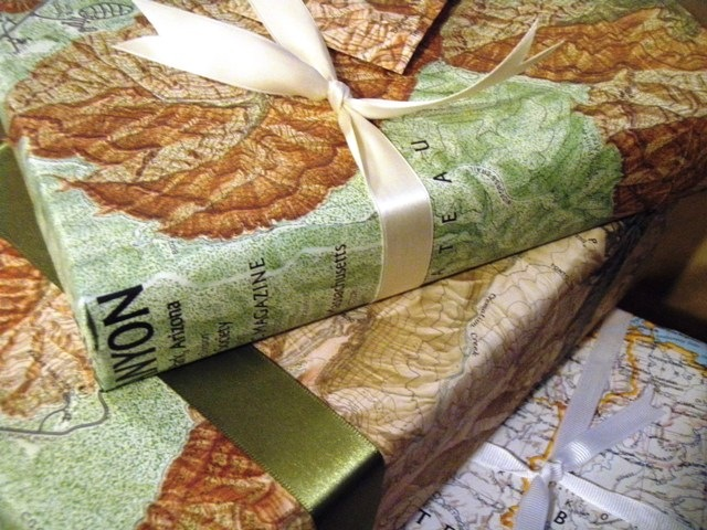 Green Living Gift Wrap with Maps Go Gingham