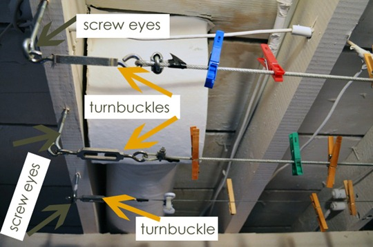 Screw eyes and turnbuckles for laundry line