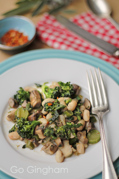 Broccolette with Beans Go Gingham