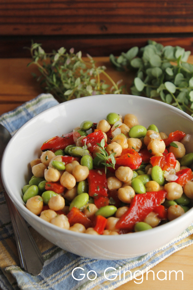 Chick pea edamame red pepper salad Go Gingham