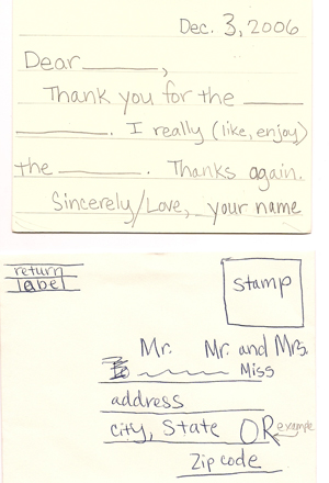Kids writing thank you notes