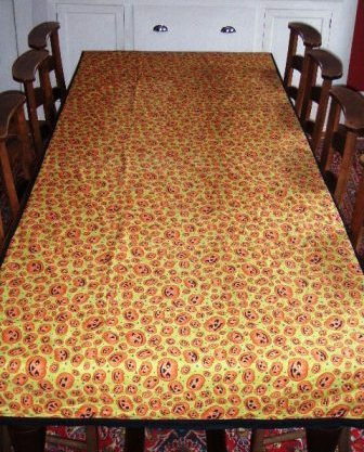 Homemade Halloween diningroom tablecloth