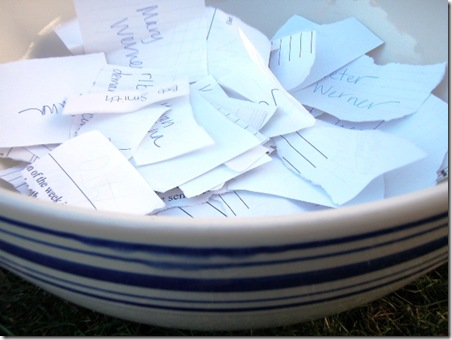 Go Gingham Free Drawing Names in bowl