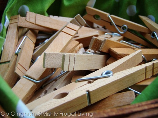 Go Gingham Clothes pins in basket