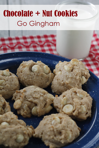 White Chocolate and Nut Cookies Go Gingham