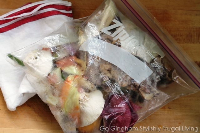 Vegetable scraps from freezer