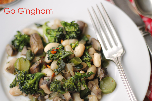 Broccolette Beans Mushrooms Go Gingham