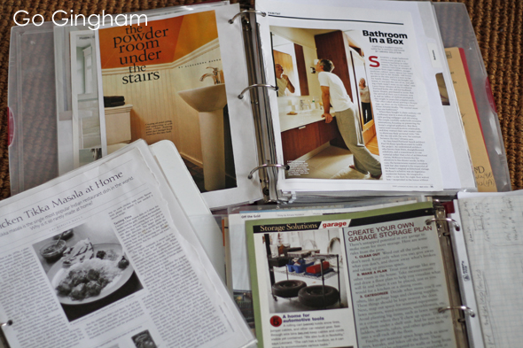 Magazine articles into binders Go Gingham