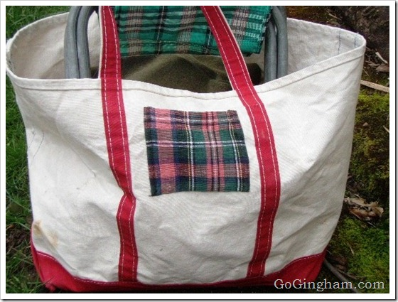 Repurposed bag with a pocket added