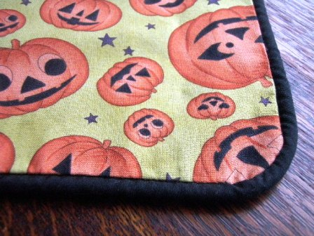 Homemade Halloween decorations tablecloth with piping