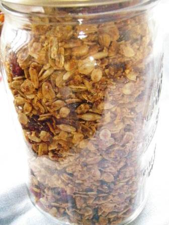 Homemade granola ready to be enjoyed