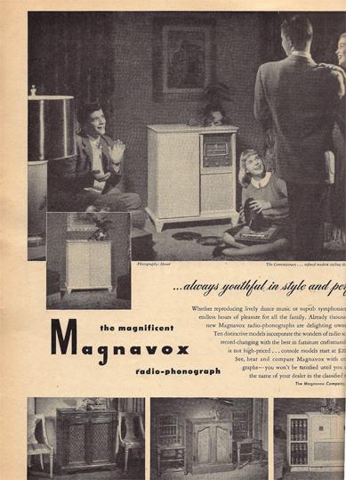 Family around the radio from BHG 1947