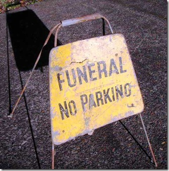 Funeral No Parking sign
