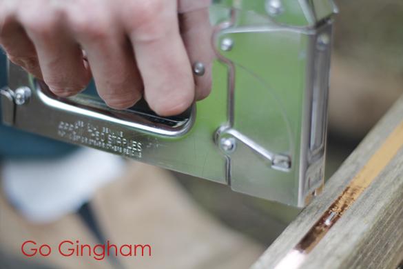 Staple gun on copper tape Go Gingham