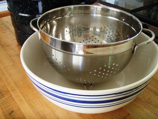 Use large colander for straining applesauce