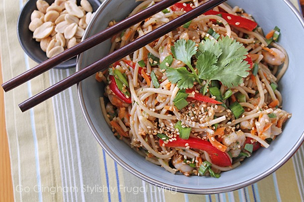 Go Gingham Asian shrimp noodle salad