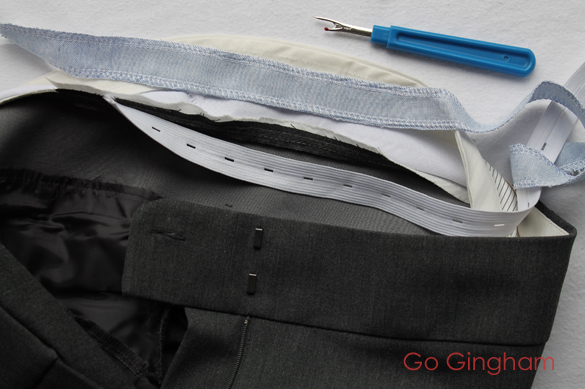 Add adjustable elastic to waist Go Gingham