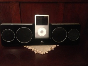iPod with portable speakers