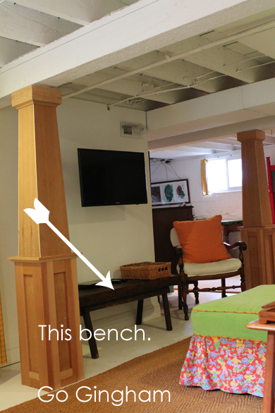 TV mounted above bench Go Gingham