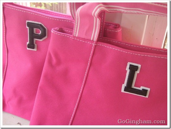 Frugal and Easy Gifts - Pink Bags with Letters