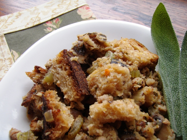 Oyster and Sausage Stuffing for Thanksgiving from Go Gingham