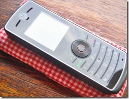 My cell phone has a gingham cover