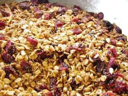 Homemade granola with dried fruit in bowl