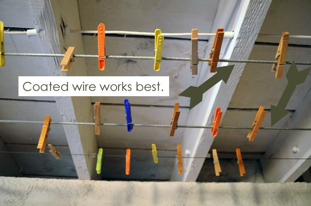 Install laundry line with coated wire