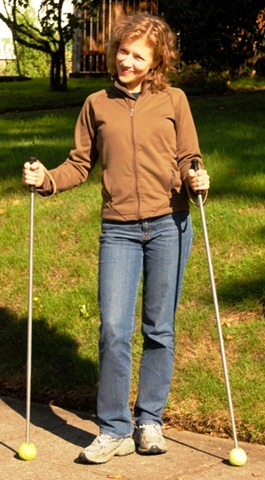 Workout with walking sticks